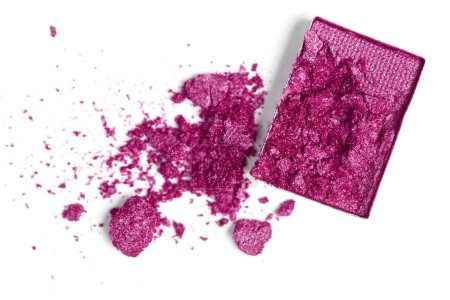 top view of bright purple eyeshadow on white backdrop