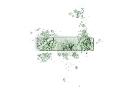 top view of cracked green eyeshadow isolated on white