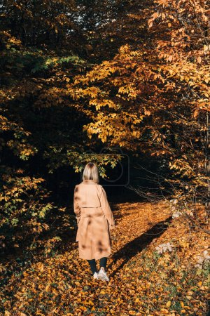 Back view of woman walking in autumn forest
