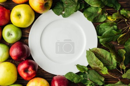 Photo for Top view of white plate, ripe multicolored apples and branches with leaves on wooden table - Royalty Free Image