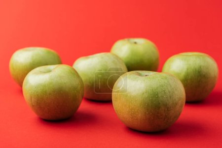 Photo for Large ripe green apples on red background - Royalty Free Image