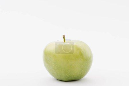 large ripe green apple on white background