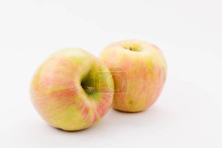 Photo for Ripe golden delicious apples on white background - Royalty Free Image