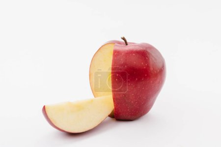 cut large red delicious apple on white background