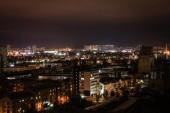 """Постер, картина, фотообои """"городской пейзаж с подсветкой здания и улицы ночью"""""""