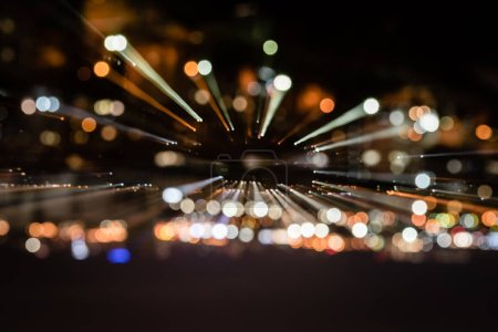 Photo pour Fond de nuit avec des lumières bokeh floues - image libre de droit