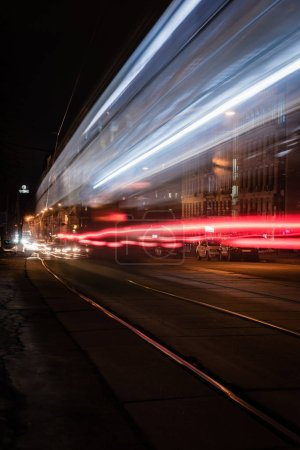 long exposure of city street with blurred illumination