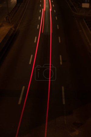 long exposure of road and lights at night