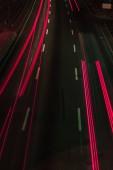 """Постер, картина, фотообои """"длинные выдержки дороги и красные огни ночью"""""""