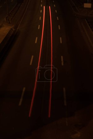 long exposure of road and shiny lights at night