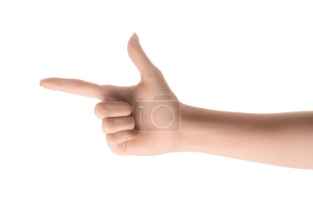 cropped view of woman pointing left with finger isolated on white