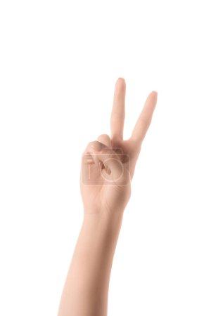 Photo pour Vue partielle de la femme, montrant le numéro 2 en langue des signes, isolé sur blanc - image libre de droit