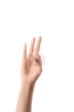 vue recadrée de la femme montrant la lettre F dans un langage sourd et muet isolé sur blanc