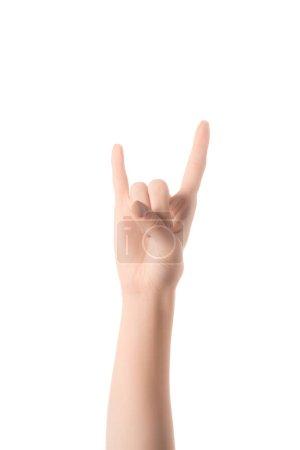 Photo pour Vue recadrée de la femme montrant lettre cyrillique dans un langage sourd et muet isolé sur blanc - image libre de droit
