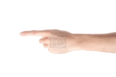 Photo for Cropped view of man pointing left with finger isolated on white - Royalty Free Image