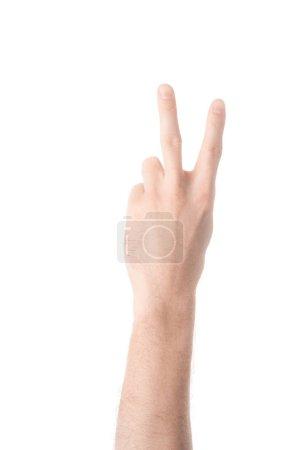 Photo pour Vue partielle de l'homme montrant le numéro 2 en langue des signes isolé sur blanc - image libre de droit