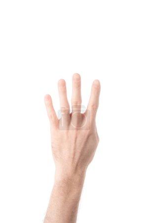 vista parcial del hombre número 4 en lengua de signos aislados en blanco