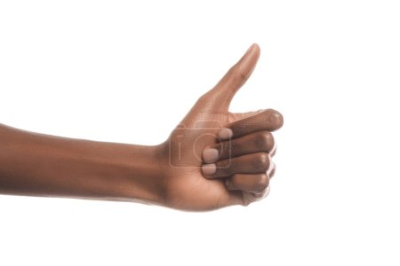 Photo for Cropped view of african american man showing thumb up sign isolated on white - Royalty Free Image