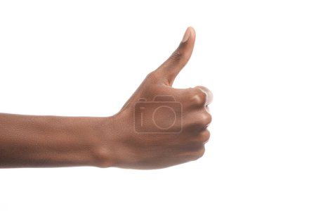 partial view of african american man showing thumb up sign isolated on white