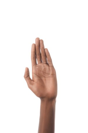 Photo for Partial view of african american man hand isolated on white - Royalty Free Image