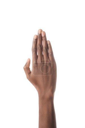 vue recadrée de main afro-américain isolé sur blanc