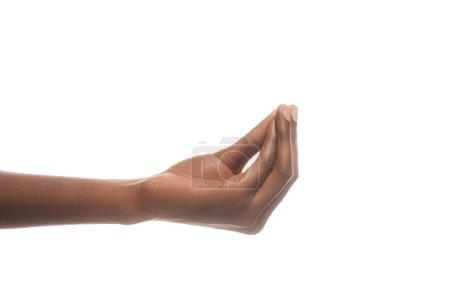 vue recadrée de l'homme afro-américain gesticulant avec la main et demandant quelque chose d'isolé sur blanc
