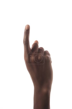 cropped view of african american man showing number 1 in sign language isolated on white