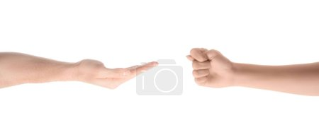 cropped view of one hand with fig gesture and other one asking for money isolated on white