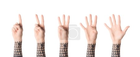 collage of tattooed man showing numbers with hands isolated on white