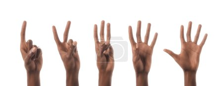 collage of african american man showing numbers with hands isolated on white