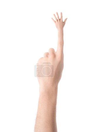 Photo pour Vue recadrée de la main tatouée gestuelle et montrant haut cinq signe isolé sur blanc - image libre de droit