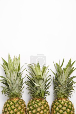 Photo for Top view of organic fresh pineapples on white  background - Royalty Free Image