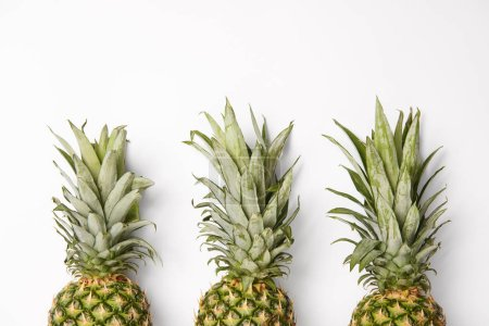 fresh, organic and tasty pineapples on white  background