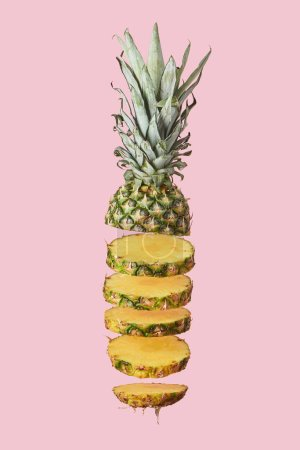 Photo for Sliced sweet organic pineapple isolated on pink - Royalty Free Image