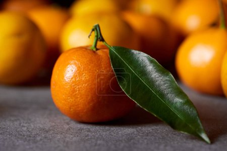 Photo for Selective focus of sweet orange clementine with green leaf near tangerines - Royalty Free Image