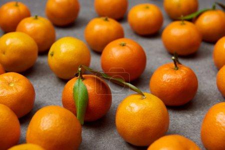 Photo pour Mise au point sélective d'organiques tangerines orange avec des feuilles vertes sur table gris - image libre de droit