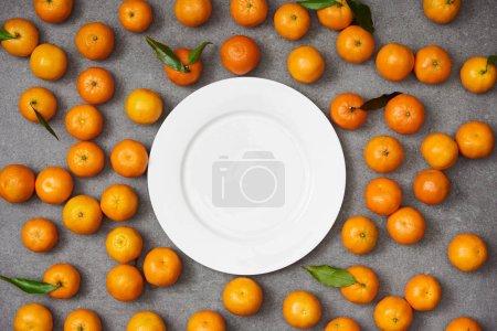 Photo pour Vue de dessus du douces tangerines organiques près de plaque blanche sur la table gris - image libre de droit