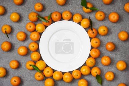 Photo pour Vue de dessus des mandarines biologiques fraîches près de la plaque blanche sur la table grise - image libre de droit