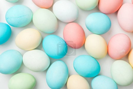 Photo for Background with colorful pastel easter eggs isolated on white - Royalty Free Image
