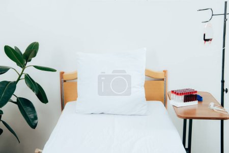 Photo pour Lit avec oreiller, plante verte, cellules emballées et tubes d'analyse de sang dans la salle d'hôpital - image libre de droit