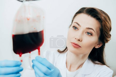 Photo for Doctor in latex gloves holding blood bag on white - Royalty Free Image