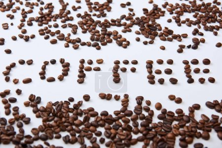 Photo for Coffee lettering made of coffee beans on white background - Royalty Free Image