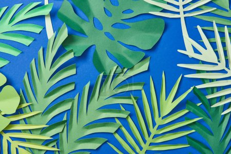 top view of green paper cut exotic leaves on blue background