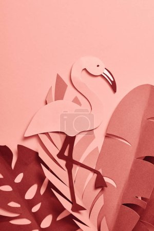 Photo for Top view of paper cut palm leaves on pink background - Royalty Free Image
