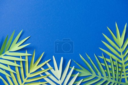 Photo for Top view of paper cut exotic leaves on blue background with copy space - Royalty Free Image