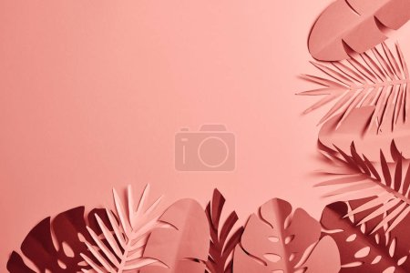 Photo for Top view of paper cut various palm leaves on pink background with copy space - Royalty Free Image