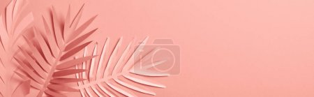 Photo for Top view of decorative paper cut exotic leaves on pink background with copy space, panoramic shot - Royalty Free Image