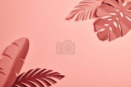 Photo pour Vue du dessus des feuilles exotiques découpées en papier sur fond rose avec espace de copie - image libre de droit