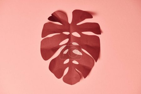 Photo for Top view of paper cut burgundy palm leaf on pink background - Royalty Free Image