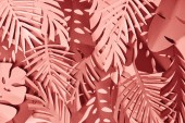 "Постер, картина, фотообои ""top view of colorful paper cut pink and burgundy palm leaves"""